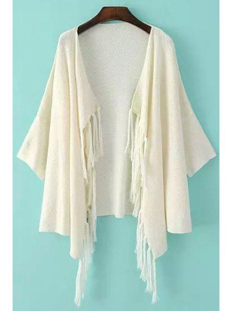 women's Solid Color Fringe Half Sleeve Cardigan - WHITE ONE SIZE(FIT SIZE XS TO M) Mobile
