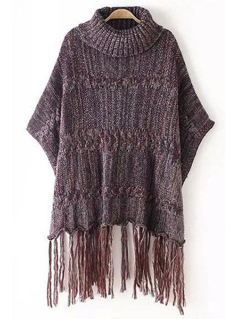 lady Turtle Neck Color Mixed Fringe Half Sleeve Sweater - RED ONE SIZE(FIT SIZE XS TO M) Mobile