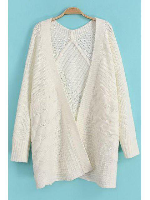 hot Cable-Knit Long Sleeve Cardigan - WHITE ONE SIZE(FIT SIZE XS TO M) Mobile