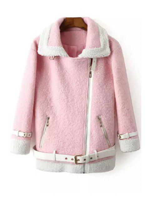 affordable Worsted Turn Down Collar Long Sleeve Coat - PINK M Mobile