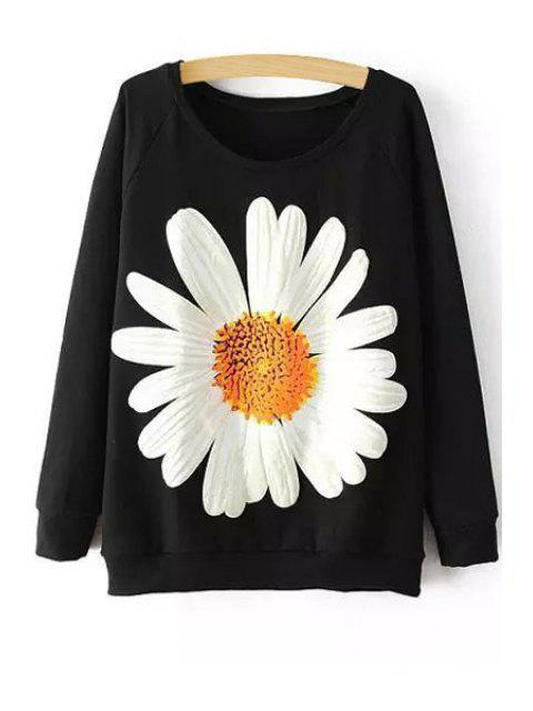 hot Sunflower Print Long Sleeve Sweatshirt - BLACK ONE SIZE(FIT SIZE XS TO M) Mobile