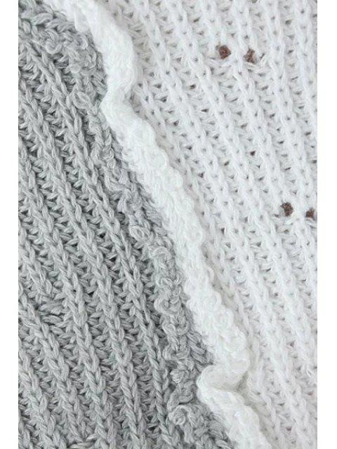 shop Round Neck White Grey Splicing Half Sleeve Sweater - GREY AND WHITE ONE SIZE(FIT SIZE XS TO M) Mobile