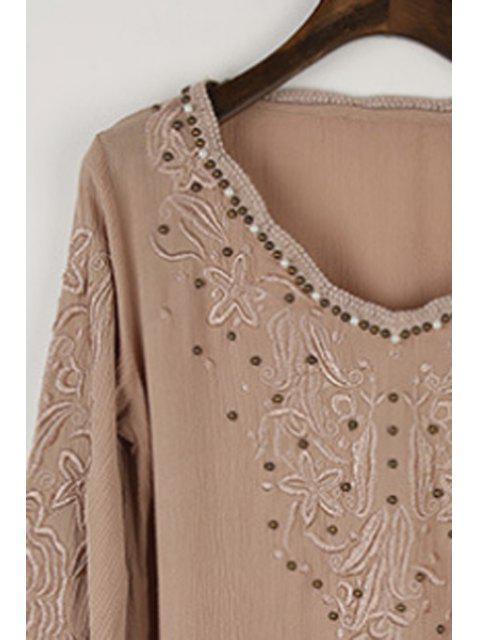 new Long Sleeve Embroidered Beading Blouse - KHAKI M Mobile