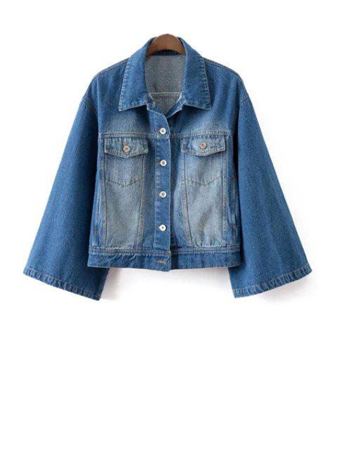 affordable Denim Turn Down Collar Long Sleeves Coat - BLUE L Mobile