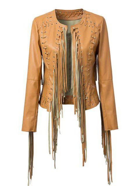 women PU Leather Long Sleeve Tassels Coat - BROWN L Mobile