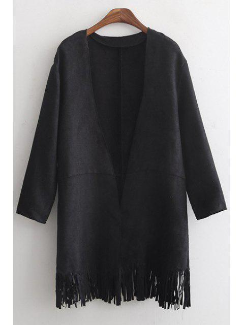 womens Tassels Solid Color Suede Coat - BLACK S Mobile