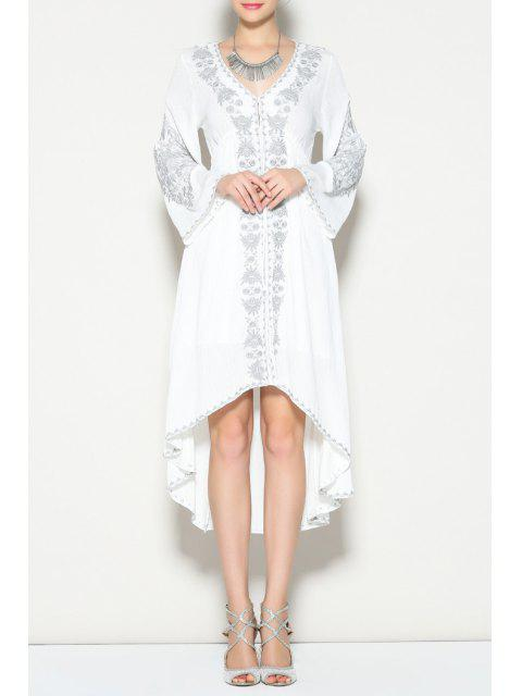 best Bell Sleeve Embroidered High Low Dress - WHITE S Mobile