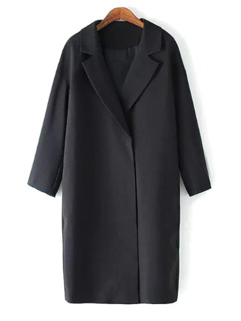 sale Solid Color Lapel Long Sleeve Maxi Blazer - BLACK M Mobile