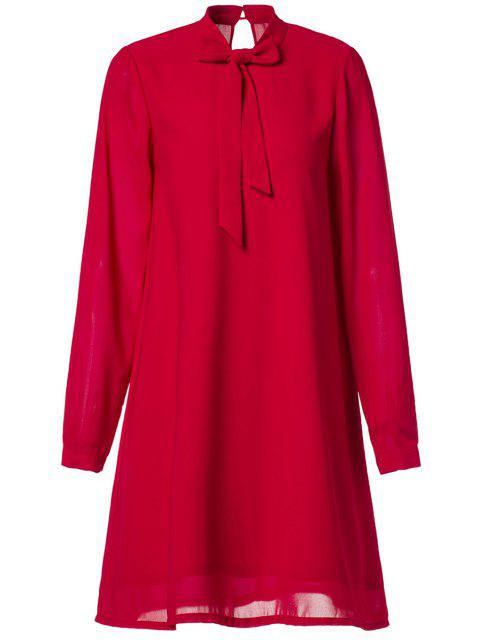 outfit Chiffon Self Tie Stand Neck Long Sleeve Dress - RED M Mobile
