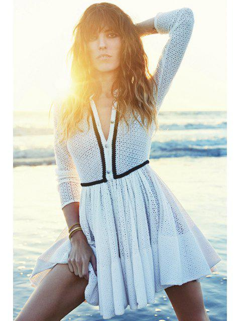 buy Long Sleeve Openwork Lace Dress - WHITE M Mobile