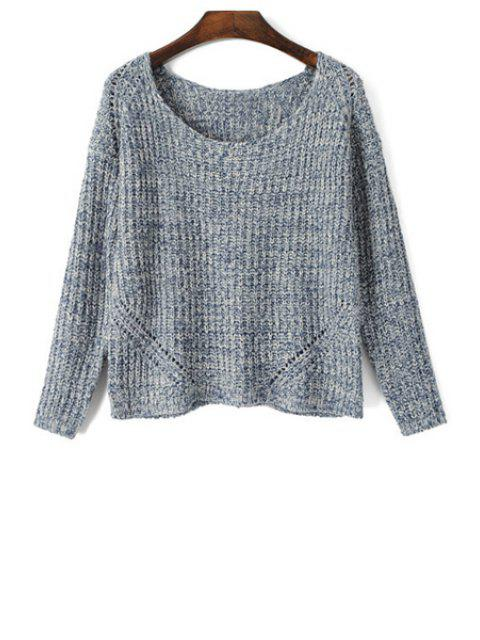 trendy Scoop Neck Color Mixed Long Sleeve Sweater - GRAY L Mobile