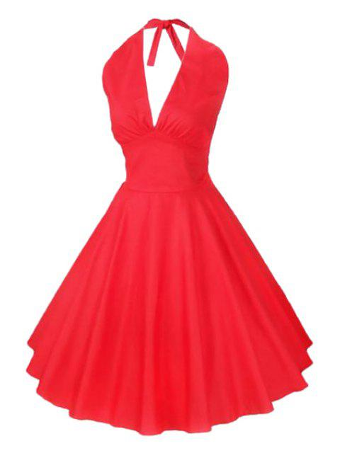 sale Solid Color Halter Flare Dress - RED M Mobile