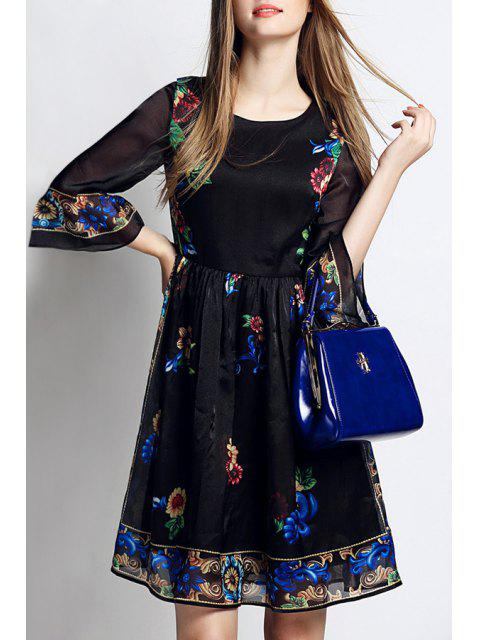 hot Flowers Print 3/4 Sleeve A Line Dress - BLACK M Mobile