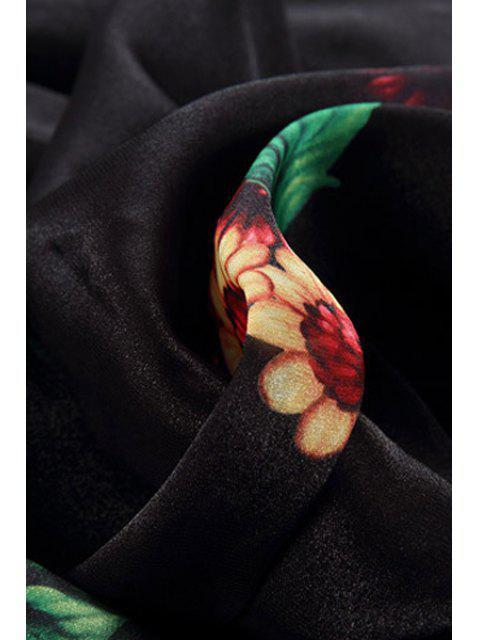 hot Flowers Print 3/4 Sleeve A Line Dress - BLACK M Mobile
