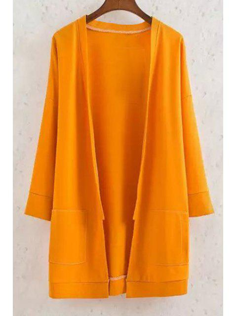 best Long Sleeve Solid Color Coat - YELLOW L Mobile