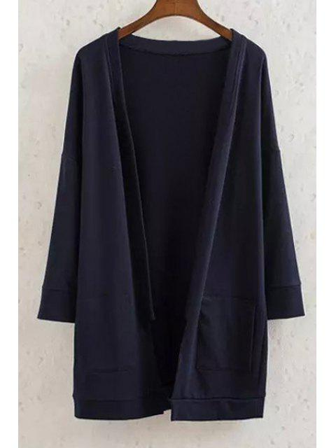 online Long Sleeve Solid Color Coat - CADETBLUE S Mobile