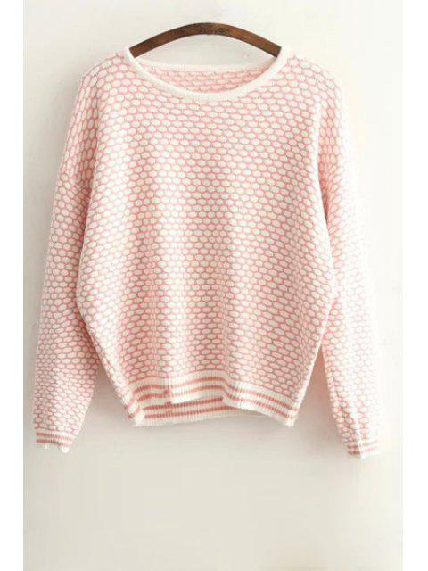 women's Tiny Plaid Pattern Long Sleeve Sweater - PINK ONE SIZE(FIT SIZE XS TO M) Mobile