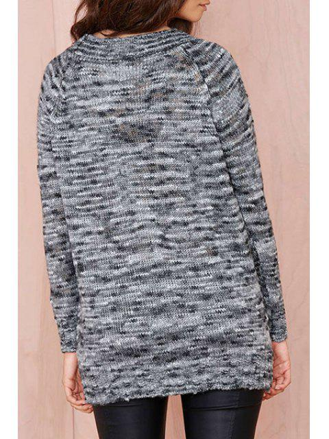 women's Deep Gray Plunging Neck Long Sleeve Jumper - DEEP GRAY 2XL Mobile