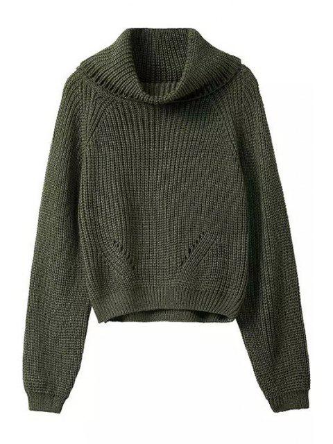 fashion Turtle Neck Pure Color Long Sleeve Sweater - BLACKISH GREEN ONE SIZE(FIT SIZE XS TO M) Mobile