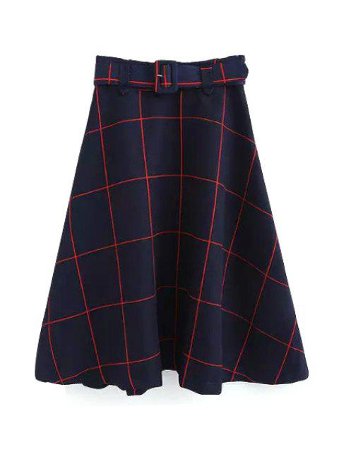 womens Plaid A-Line Midi Skirt With Belt - RED M Mobile