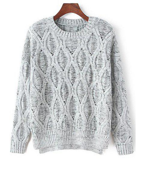 shop Loose-Fitting Hollow Jumper - GRAY ONE SIZE(FIT SIZE XS TO M) Mobile