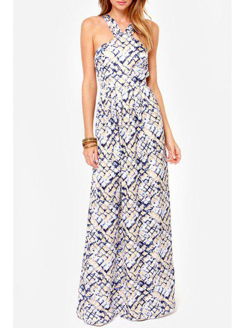 trendy Rock Print V Neck Sleeveless Maxi Dress - OFF-WHITE M Mobile
