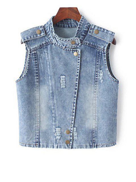 buy Stand Neck Denim Waistcoat - BLUE M Mobile