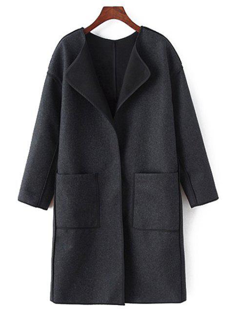 buy Long Sleeve Pocket Design Coat - BLACK M Mobile