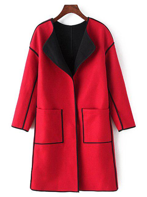 ladies Long Sleeve Pocket Design Coat - RED M Mobile