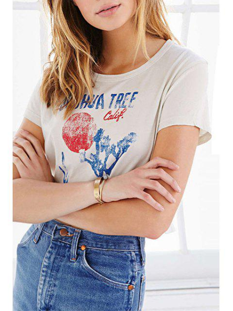 new Scoop Neck Color Block Letter Print T-Shirt - WHITE S Mobile
