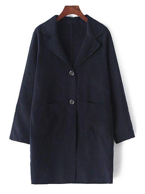 lady Lapel Long Sleeve Single-Breasted Coat - CADETBLUE L Mobile