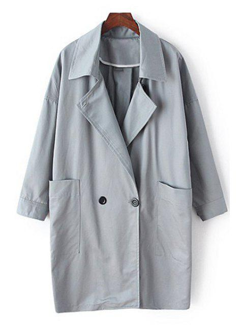 lady Lapel Long Sleeve Pocket Trench Coat - GRAY M Mobile