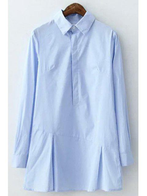 women's Shirt Collar Long Sleeve Stripe Dress - BLUE S Mobile