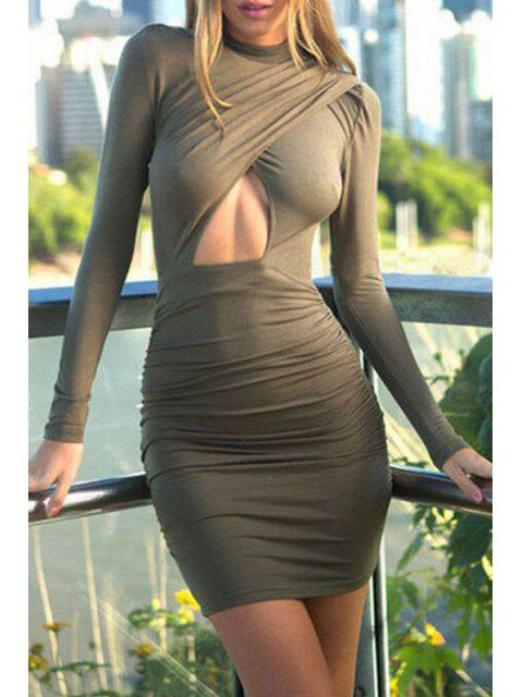 ladies Hollow Stand Long Sleeve Bodycon Dress - ARMY GREEN M Mobile