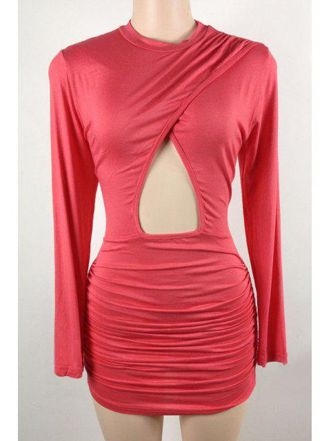women's Hollow Stand Long Sleeve Bodycon Dress - PEACH RED L Mobile