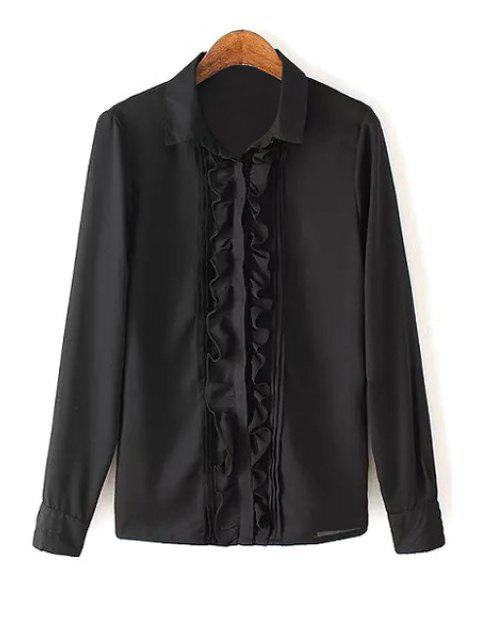 women Ruffles Spliced Shirt Neck Long Sleeve Shirt - BLACK S Mobile