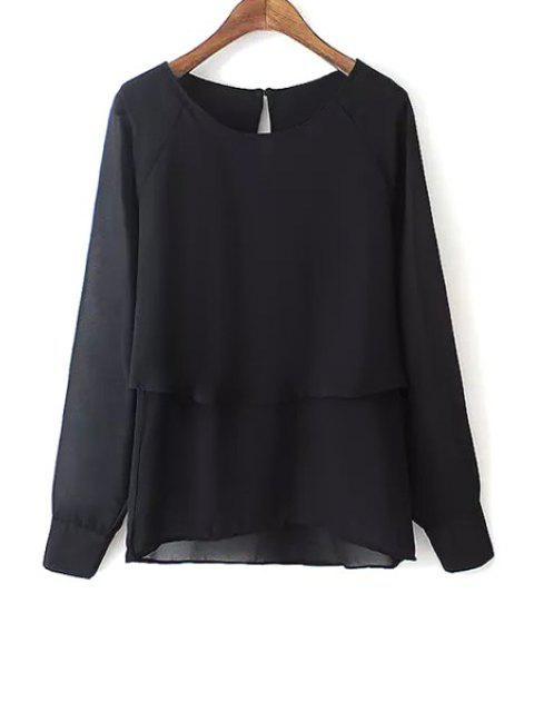 best Black Scoop Neck Long Sleeve Blouse - BLACK M Mobile