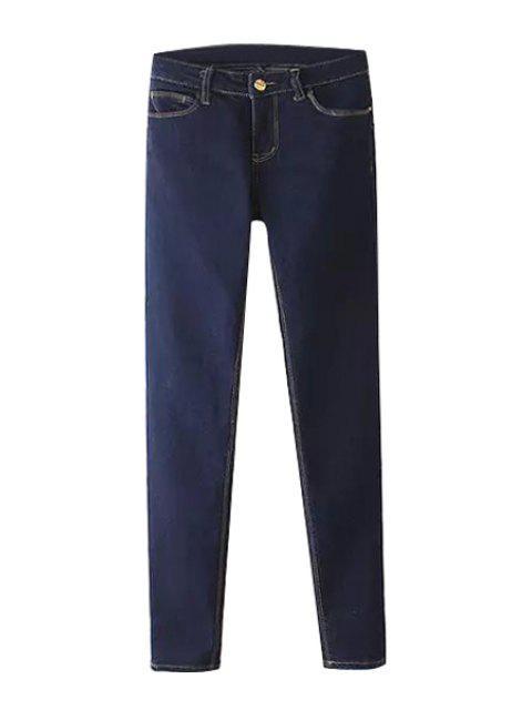hot Deep Blue Narrow Feet Jeans - DEEP BLUE XL Mobile
