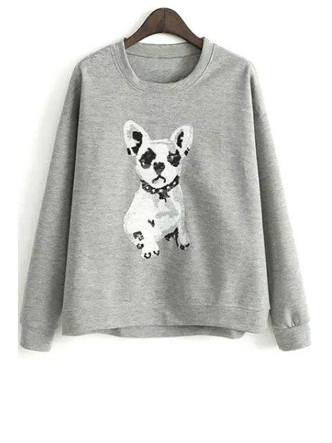 Sweat-shirt Lâche à Motif Chiot - gris M Mobile