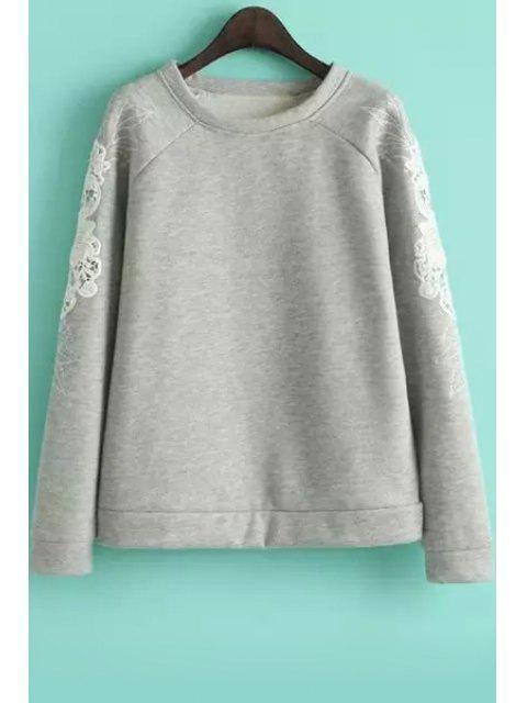 sale Embroidered Sleeve Loose Sweatshirt - GRAY M Mobile