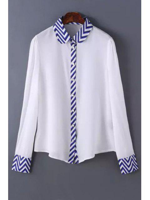 outfit Zig Zag Spliced Shirt Neck Long Sleeve Shirt - WHITE L Mobile