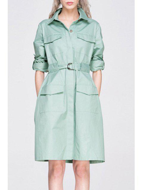 chic Long Sleeve Big Pocket Coat Dress With Belt - LIGHT GREEN S Mobile