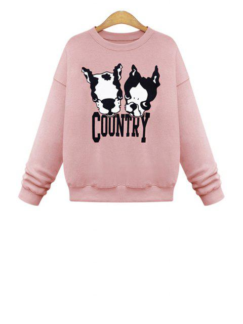 trendy Dog Pattern Long Sleeves Sweatshirt - PINK M Mobile