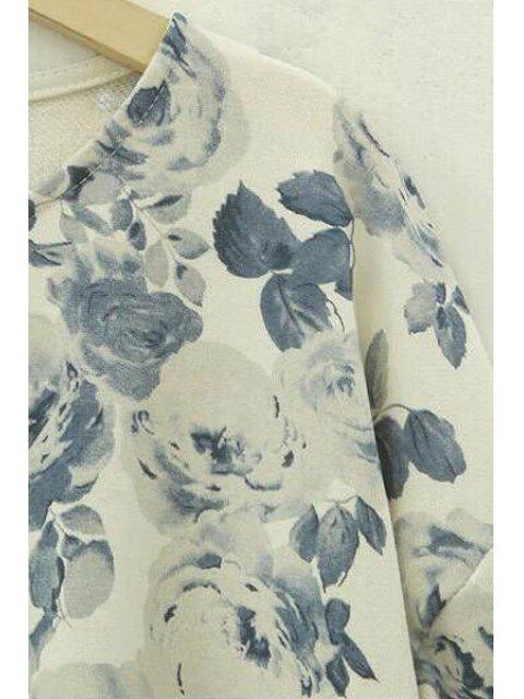 T-shirt à manches longues à imprimé floral à manches longues - RAL1001Beige 5XL Mobile