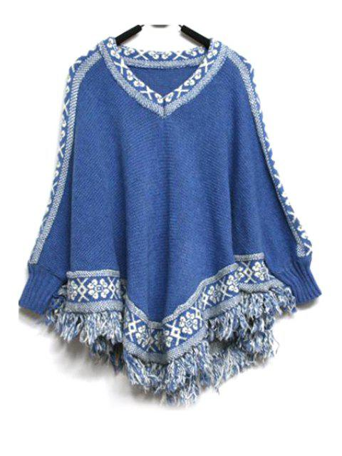 fancy Batwing Sleeve Tassels Cape Sweater - BLUE ONE SIZE(FIT SIZE XS TO M) Mobile