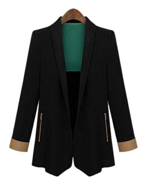 outfit Color Block Shawl Collar Long Sleeve Blazer - BLACK M Mobile