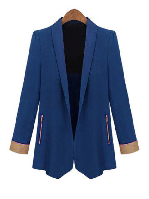 trendy Color Block Shawl Collar Long Sleeve Blazer - SAPPHIRE BLUE L Mobile