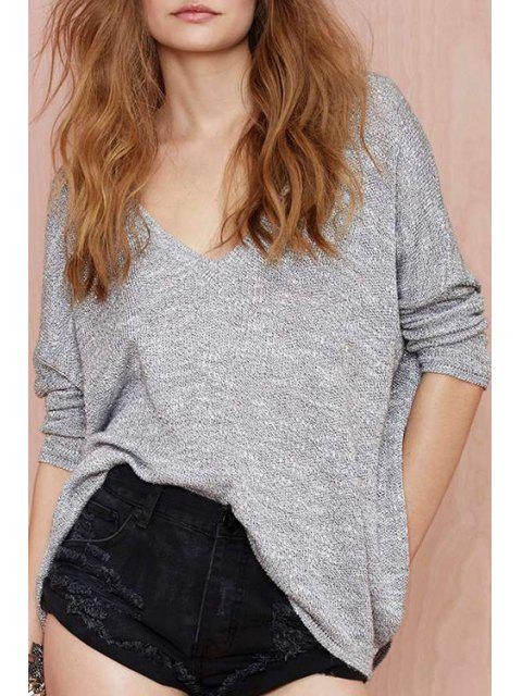 hot Deep V Neck Batwing Long Sleeve Sweater - GRAY XL Mobile