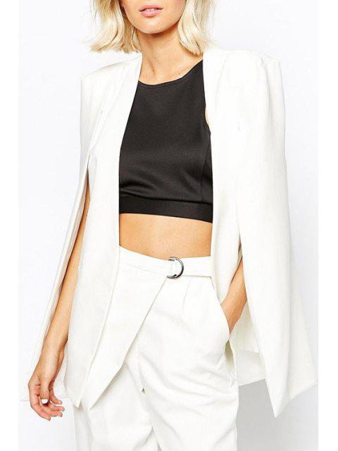 best Solid Color Split Sleeveless Blazer - WHITE L Mobile