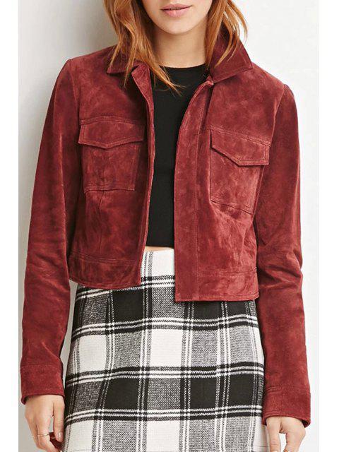 women Solid Color Vintage Long Sleeve Jacket - WINE RED XL Mobile
